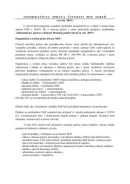 INFORMATÍVNA SPRÁVA ČINNOSTI MSP SEREĎ ( za rok 2015 ) V