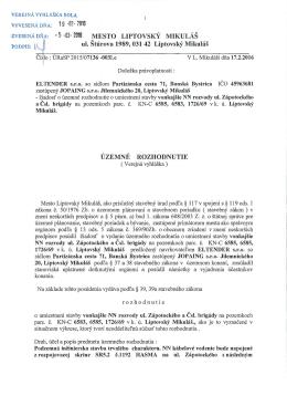 """5 -03"""" 2016 MĚSTO LIPTOVSKÝ MIKULÁŠ ul. Štúrova 1989, 031 42"""