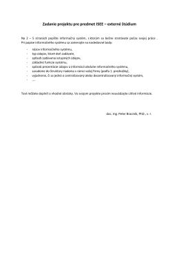 Zadanie projektu pre predmet ISEE – externé štúdium