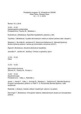 Predbežný program 18. Winterfórum SSAIM Hotel Patria, Štrbské