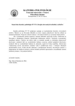 katedra politológie - Iniciatíva slovenských učiteľov