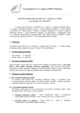 Gymnázium, Ul. 1. mája 8, 90101 Malacky