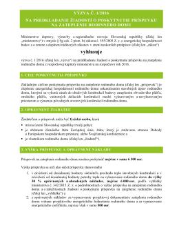 Výzva č. 1/2016 na predkladanie žiadostí o