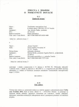 o poskytnutí dotácie - Trenčiansky samosprávny kraj