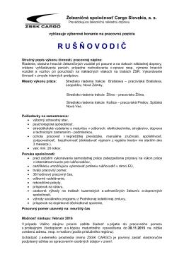 ru š ň ovodi č - Železničná spoločnosť Cargo Slovakia a. s.
