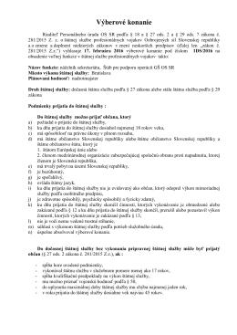 Výberové konanie - Personálny úrad OS SR