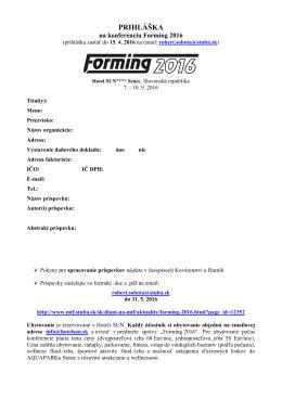 PRIHLÁŠKA – Karta účastníka