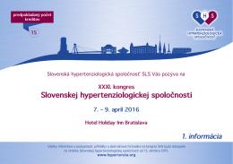 1. informácia - Slovenská hypertenziologická spoločnosť
