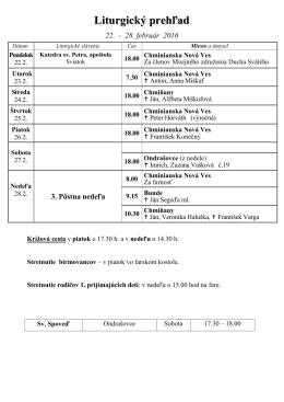 Sväté omše - Farnosť obrátenia sv. Pavla Chminianska Nová Ves