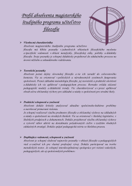 Profil absolventa magisterského študijného programu učiteľstvo
