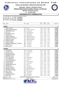 WM Destne, Ergebnisliste Kombination Damen und Herren