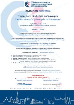 Emploi dans l`industrie en Slovaquie Zamestnanosť v priemysle na