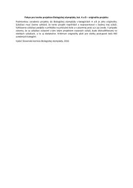 Pokyn pre tvorbu projektov Biologickej olympiády, kat. A a B