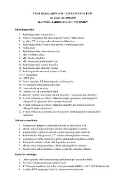 Témy bakalárskych prác