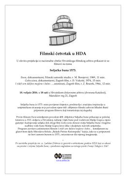 Filmski četvrtak u HDA, Seljačka buna 1573., HDA