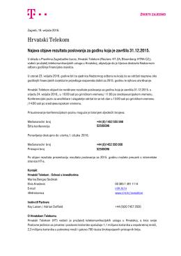 Najava objave rezultata poslovanja za 2015. godinu
