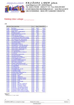 Katalog roba i usluga - Knjižara Liber Šibenik