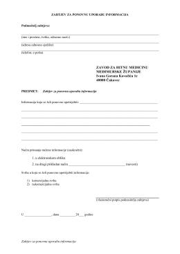 Zahtjev za ponovnu uporabu informacija