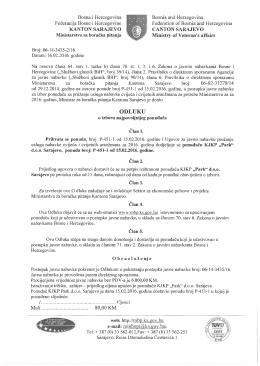odluku - Ministarstvo za boračka pitanja