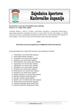 Lista prijavitelja koji su zadovoljili formalne uvjete natječaja