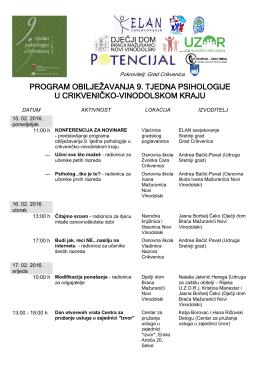 program obilježavanja 9. tjedna psihologije