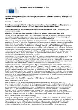 Ususret energetskoj uniji: Komisija predstavlja paket o