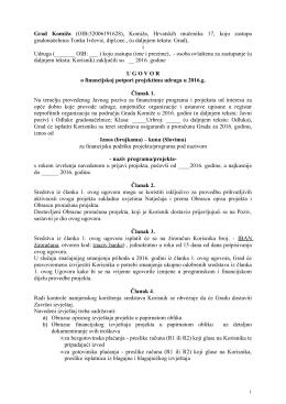 Ugovor o financijskoj potpori projektima udruga u