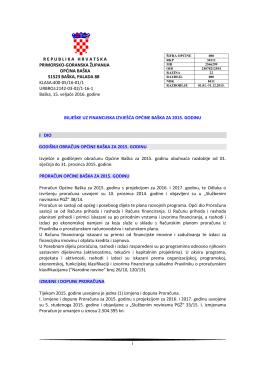 Bilješke uz financijska izvješća Općine Baška za