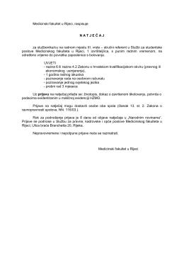 Uvjeti natječaja - Medicinski fakultet Sveučilišta u Rijeci
