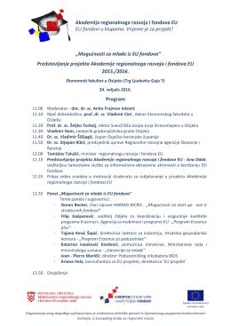 """""""Mogućnosti za mlade iz EU fondova"""" Predstavljanje projekta"""