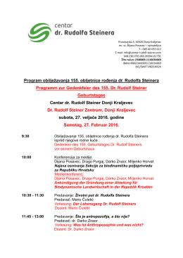 Program obilježavanja 155. obljetnice rođenja dr. Rudolfa Steinera