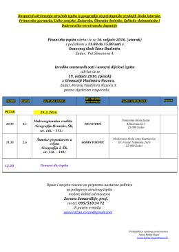 Popis pristupnika i raspored polaganja stručnog ispita