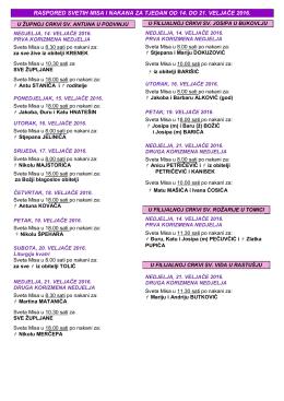 raspored svetih misa i nakana za tjedan od 14. do 21. veljače 2016.