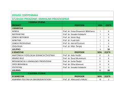 odsjek: zootehnika studijski program: animalna proizvodnja