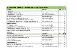STUDIJSKI PROGRAM: FLORISTIKA I PEJSAŽNO OBLIKOVANJE