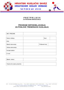 Pretprijava - Hrvatski kuglački savez