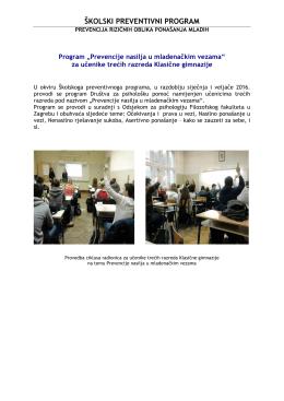 Školski preventivni programa - Program ``Prevencije nasilja u