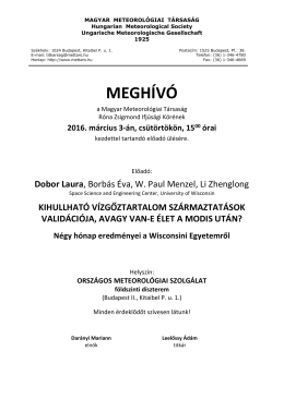 meghívó - Magyar Meteorológiai Társaság