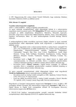 A 2016. február 15-től hatályos ÁSZF változás közleményét