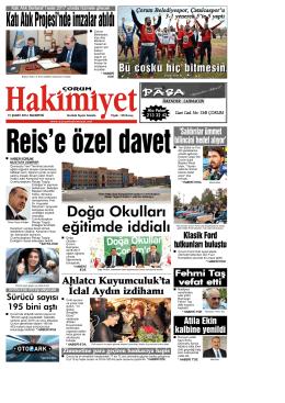 15 Şubat 2016 Pazartesi - Çorum Hakimiyet Gazetesi