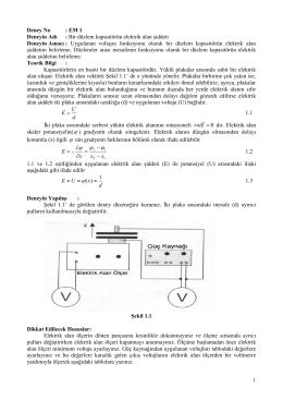 Deneyin Adı: Bir düzlem kapasitörün elektrik alan şiddeti