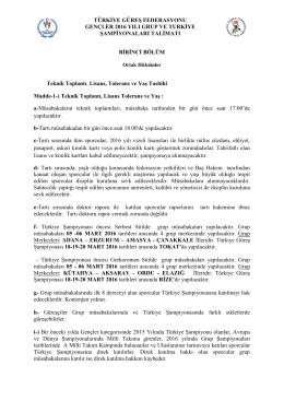 2016 yılı gençler talimatı - Türkiye Güreş Federasyonu