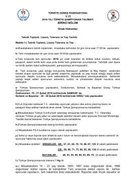 2016 yılı u23 talimatı - Türkiye Güreş Federasyonu