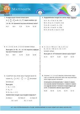 Kümeler - 2 - Ölçme, Değerlendirme ve Sınav Hizmetleri Genel