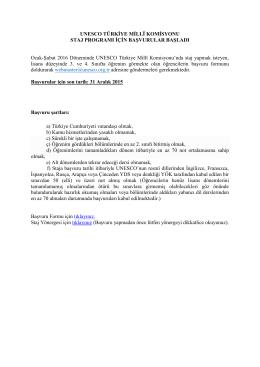 UNESCO Türkiye Millî Komisyonu Staj Programı için başvurular