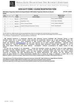 ders kayıt formu / course regıstratıon form