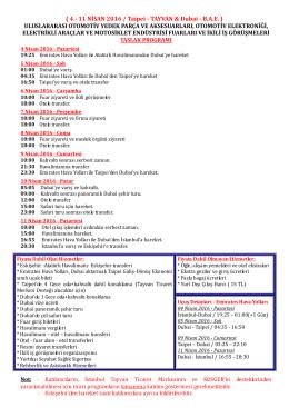 4 - 11 NİSAN 2016 / Taipei - TAYVAN & Dubai - BAE
