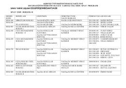 2015-2016 güz yarıyılı tek ders sınav programı