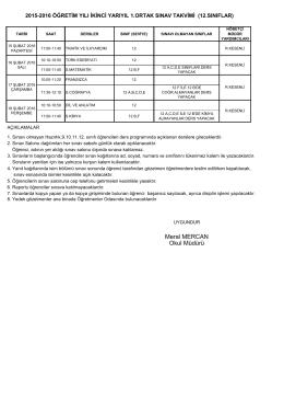 2015-2016 12. Sınıflar 2. Dönem 1.Ortak Sınav Takvimi için tıklayınız