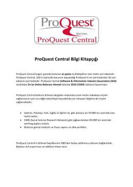 ProQuest Central Bilgi Kitapçığı
